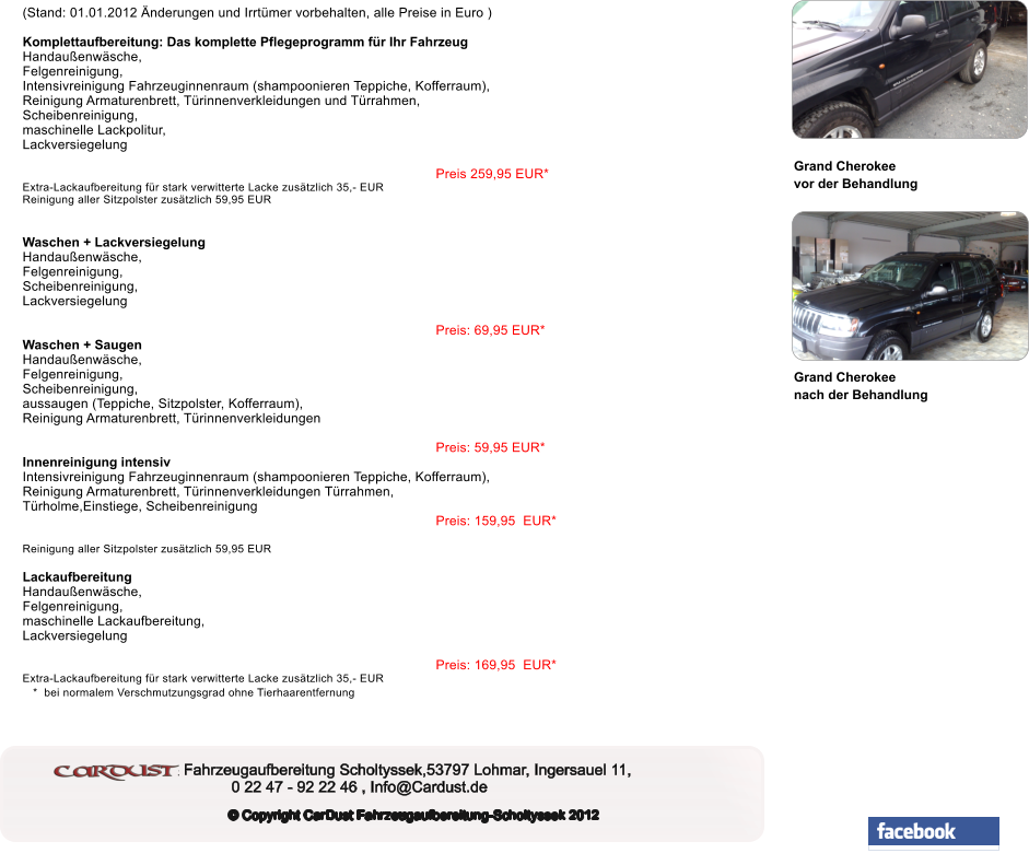 Preisliste Vans,Busse,Jeeps